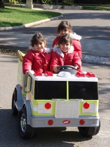 3 girls in firetruck