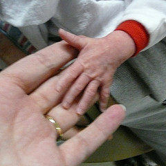 infant hand in adult hand